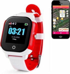 GPS tracker horloge kind junior & Senior Aqua Wifi Sports rood wit SOS bellen [IP67 waterdicht] incl. SIM-kaart